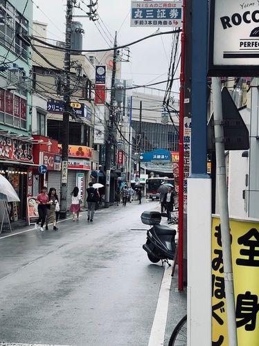 日吉の浜銀通り。雨でも人通りが多いですね。