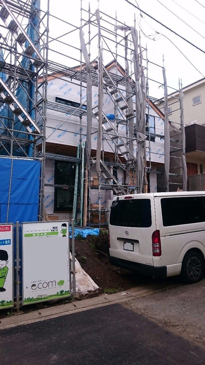 港北区下田町 新築戸建て サイディング施工前の透湿防水シート